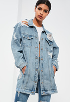Missguided Blue Ripped Longer Length Denim Jacket