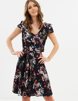 Wallis Orange Blossom Ruffle Front Fit-and-Flare Dress