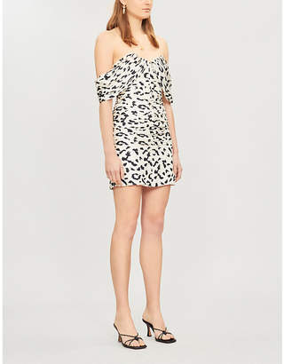 Self-Portrait Self Portrait Off-the-shoulder leopard-print pleated crepe mini dress