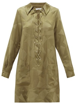 Racil Sahara Aprilia Lace-up Satin Mini Dress - Khaki