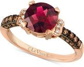 LeVian Le Vian Chocolatier® Raspberry Rhodolite® Garnet (1-3/4 ct. t.w.) and Diamond (1/4 ct. t.w.) Ring in 14k Rose Gold