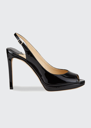 Jimmy Choo Nova Patent Leather Peep-Toe Slingback Pumps