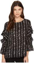 CeCe Long Sleeve Tiered Ruffle Sleeve Floral Vine Blouse Women's Blouse
