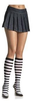 Leg Avenue Stripe Knee High, Black/White, One Size