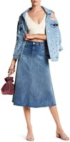 Mother Double Fray Denim Circle Skirt