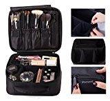 ROWNYEON Portable Velcro Travel makeup bag / Makeup Case / Mini Makeup Train Case/Makeup Organizer Bag/Cosmetic Bag (Mediun, Black)