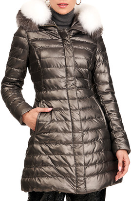 Gorski Apres-Ski Zip-Front Quilted Puffer Jacket W/ Detachable Fox Fur Hood Trim