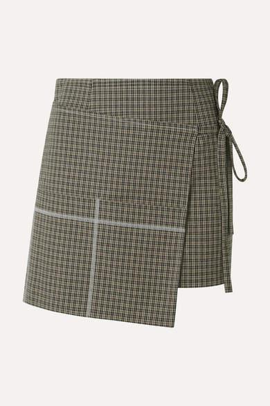 Sandy Liang Checked Cotton-blend Wrap Mini Skirt - Mushroom