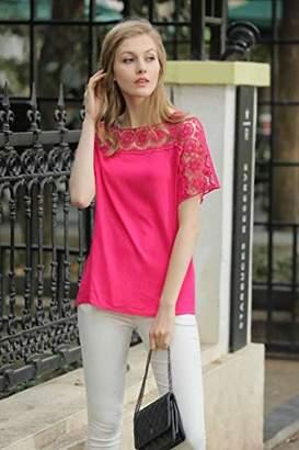 UP Ultrapink Missy Womens Short Sleeve Blouse Crochet Insert at Sleeve/ Shoulder