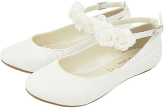 Monsoon Girls Amy Corsage Ankle Strap Ballerina - Ivory