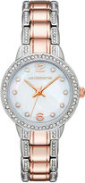 Liz Claiborne Womens Crystal-Accent Two-Tone Bracelet Watch