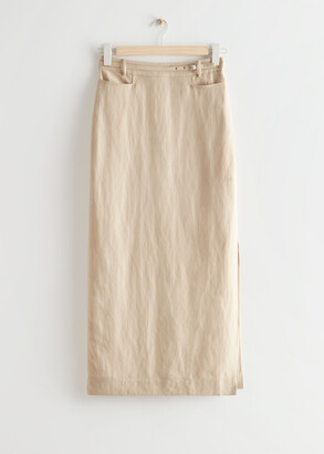 And other stories Belted Silk Midi Skirt