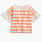 J.Crew Girls' eyelet flutter-sleeve striped T-shirt