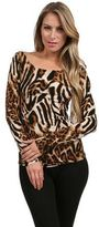 Savee Couture Cut Out Back Top in Black Brown Leopard