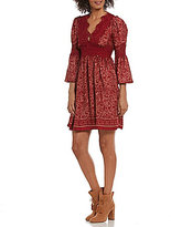 M.S.S.P. Printed Lace Trim Bell Sleeve Dress