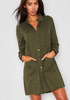 Missy Empire Tessie Green Distressed Pocket Shirt Dress