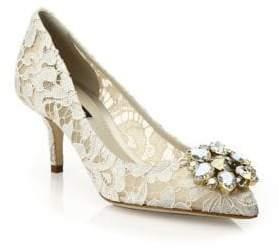 Dolce & Gabbana Embellished Lace Point Toe Pumps