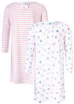 John Lewis Children's Squirrel Print Night Dress, Pack of 2, Pink/White
