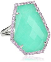 Kenneth Jay Lane Fine Jewelry Sterling Silver, Chrysoprase and Pink Sapphire Kite Ring, Size 7