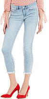 GB Cropped Button-Front Fringe Hem Jeans