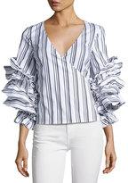 Caroline Constas Athena Striped Ruffle-Sleeve Wrap Blouse