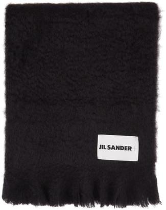 Jil Sander Navy Mohair and Wool Scarf