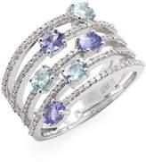 Effy Women's 14K White Gold Diamond, Aquamarine & Tanzanite Ring