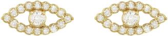 Jennifer Meyer Diamond Mini Open Evil Eye Stud Earrings - Yellow Gold