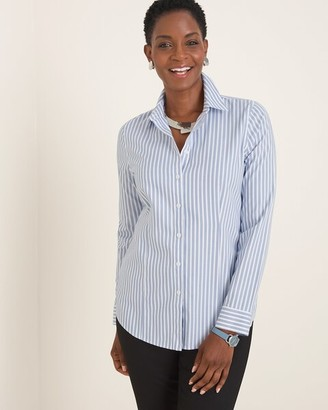No Iron Striped Coolmax All Seasons Classic Shirt