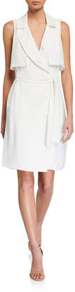 Halston Trench Button-Front Sleeveless Dress