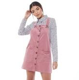 Jacqueline De Yong Womens Era Corduroy Overall Dress Nostalgia Rose