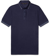 Loro Piana Contrast-Tipped Knitted Silk and Linen-Blend Polo Shirt