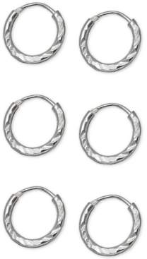 """Giani Bernini 3-Pc. Set Extra Small Textured Endless Hoop Earrings in Sterling Silver, 0.39"""", Created For Macy's"""