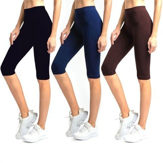 Glass House Apparel Solid Knee Length Short Spandex Yoga Leggings 3 Pack (Black, Brown, Navy)
