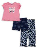 Little Me Bunny Tee, Shorts and Pants Pajama Set