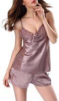 Kevansly Womens Silk Satin Pajama Cami Set 2 Pieces Sleepwear Lingerie Short Set