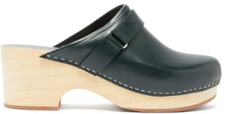A.P.C. Sabot Coline Backless Leather Clogs - Womens - Dark Green