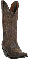 Dan Post Brown Studded Crackle Leather Cowboy Boot - Women