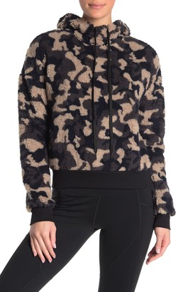 Z By Zella Faux Shearling Camouflage Hooded Sweater