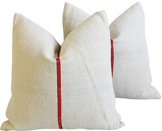 One Kings Lane Vintage French Country Grain-Sack Pillows - Set of 2