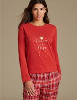 Marks and Spencer Pure Cotton Printed Long Sleeve Pyjama Top