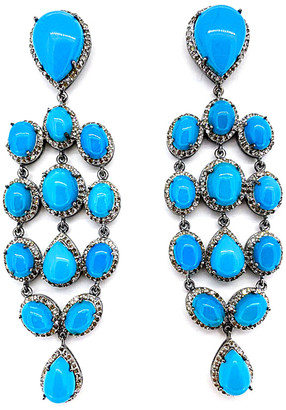 Arthur Marder Fine Jewelry Silver 4.00 Ct. Tw. Diamond & Turquoise Earrings