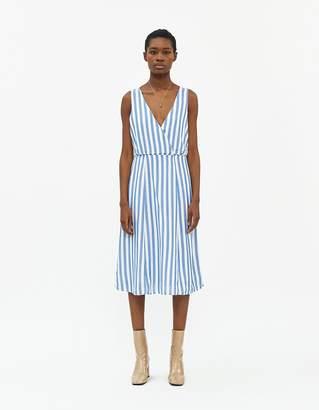 MONICA Stelen Women's Striped Dress in Blue/White, Size Small