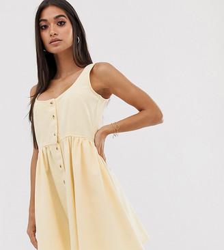 Asos DESIGN Petite denim scoop neck button front skater mini dress