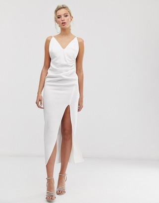 Asos Design DESIGN ruched cami wrap maxi dress-White