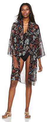 Beautiful Nomad Floral Kimono Cardigan Ruffle Sleeve Beach Cover up for Women