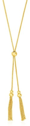 Mayamila Adjustable Lariat Necklace with Chain Tassels in 14k Yellow Gold