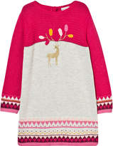 Catimini Fuchsia Knitted Deer Embroidered Dress