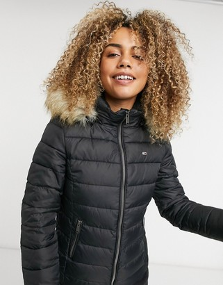 Tommy Jeans faux fur hooded padded jacket in black