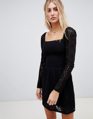 Wild Honey square neck dress with long sleeves in lace